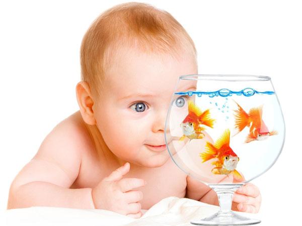 ребенок 6 месяцев с аквариумом