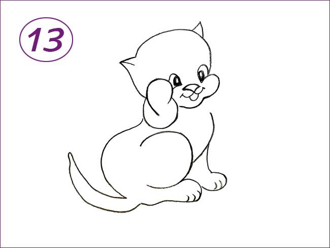 рисунок кота шаг 13