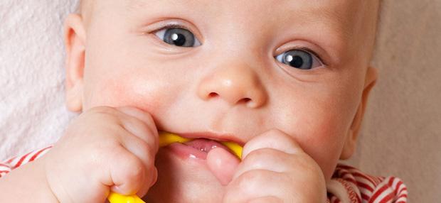 игрушка в зубах у малыша