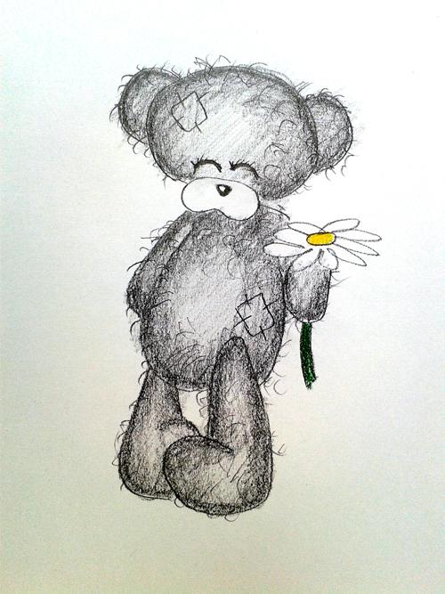 нарисованный мишка тедди