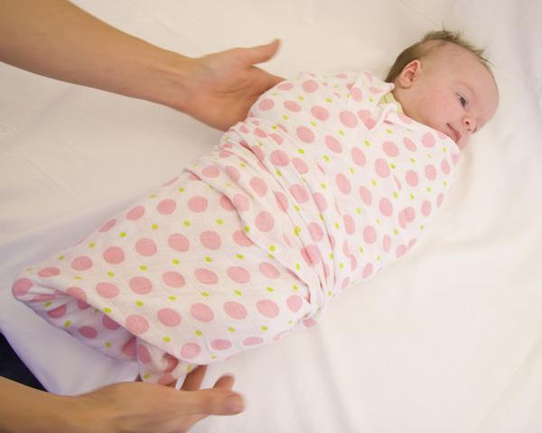 пример тугого пеленания новорожденного