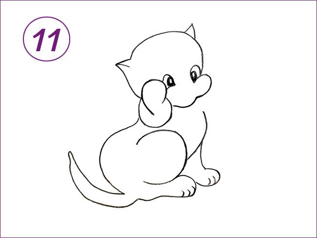 рисунок кота шаг 11