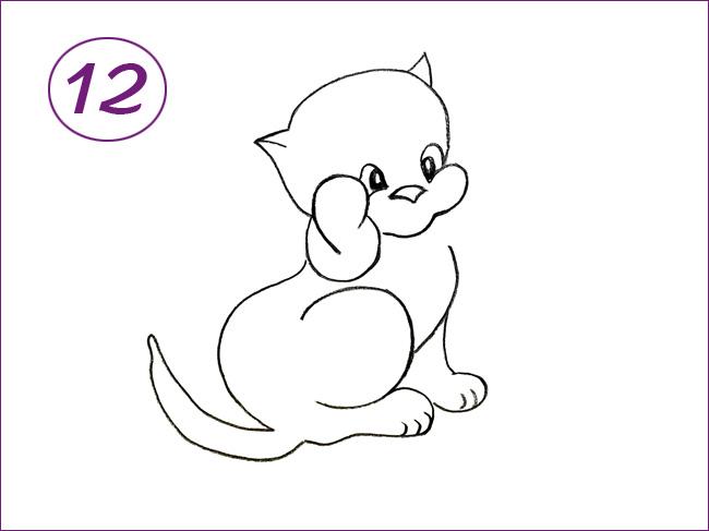 рисунок кота шаг 12