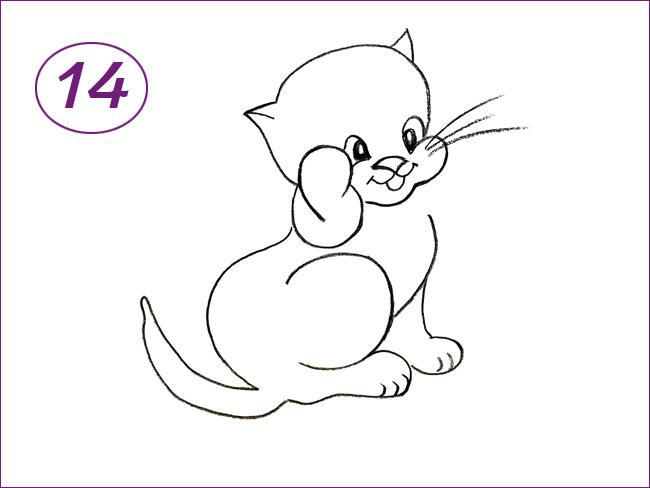 рисунок кота шаг 14
