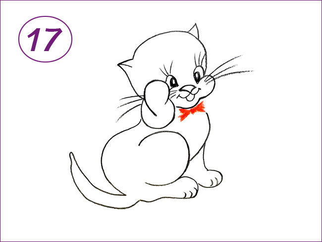 рисунок котенка шаг 17