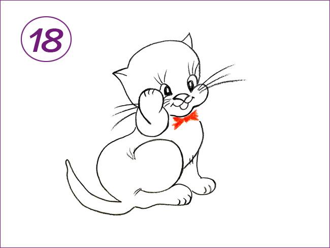 рисунок котенка шаг 18