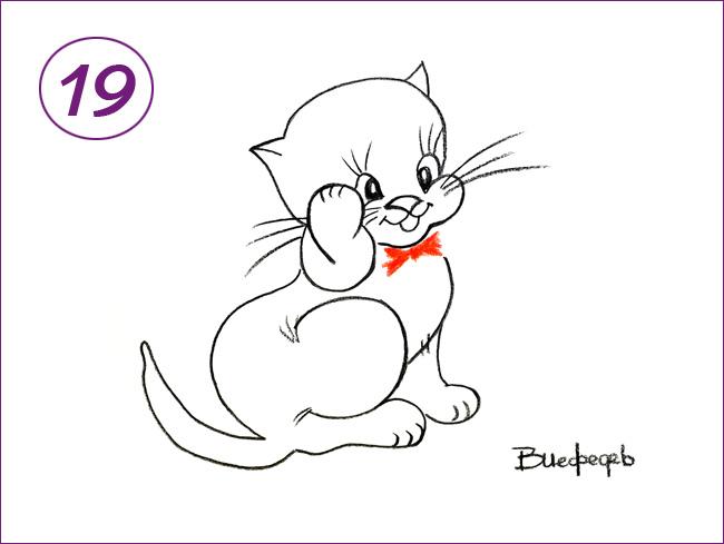 рисунок кота шаг 19