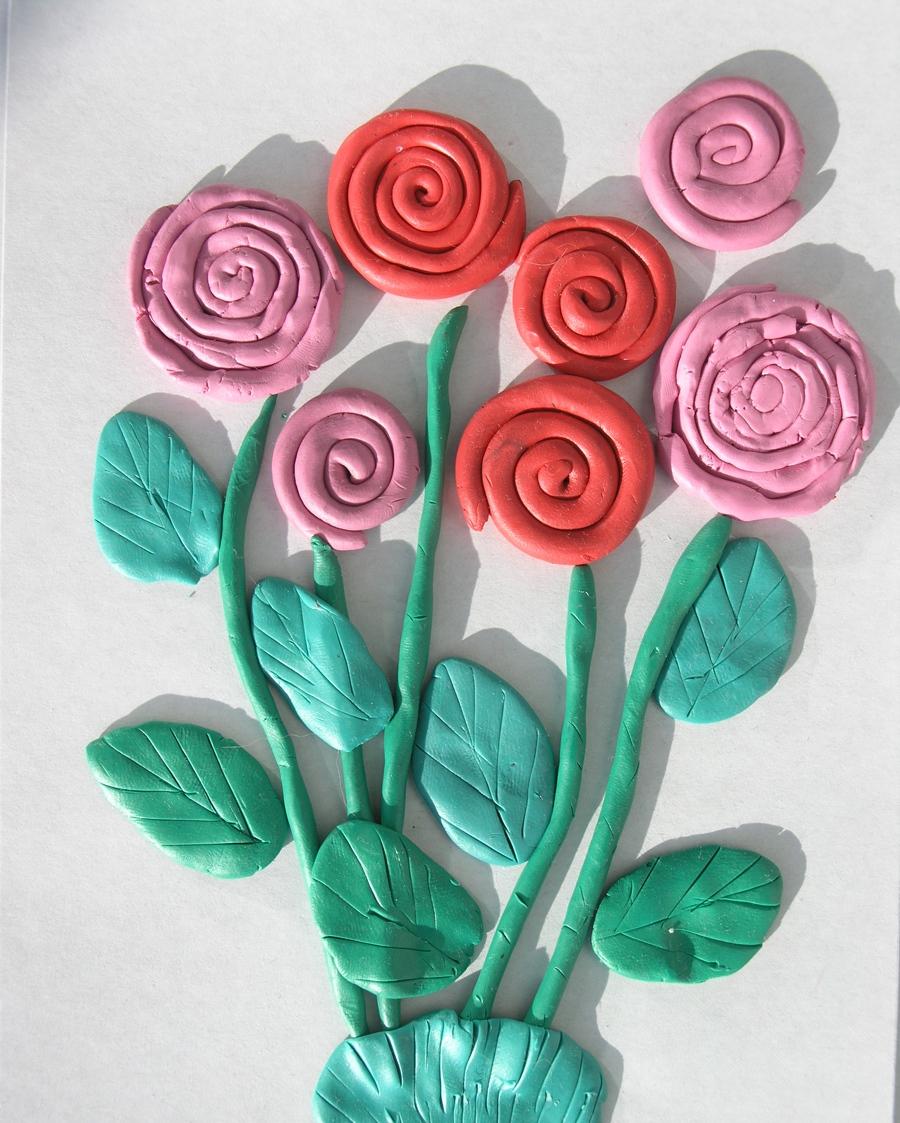 открытка розы из пластилина